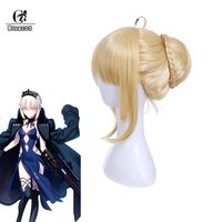 ROLECOS Sort Saber Cosplay Chapeaux Sort Cosplay Chapeaux Moyen Blonde Tressage Synthétique Cheveux Altria Pendragon Fate Stay Night