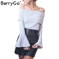 BerryGo Sexy Off Shoulder Flare Sleeve Knitted Sweater Women Slim Elegant Pullover Autumn Winter Casual Streetwear