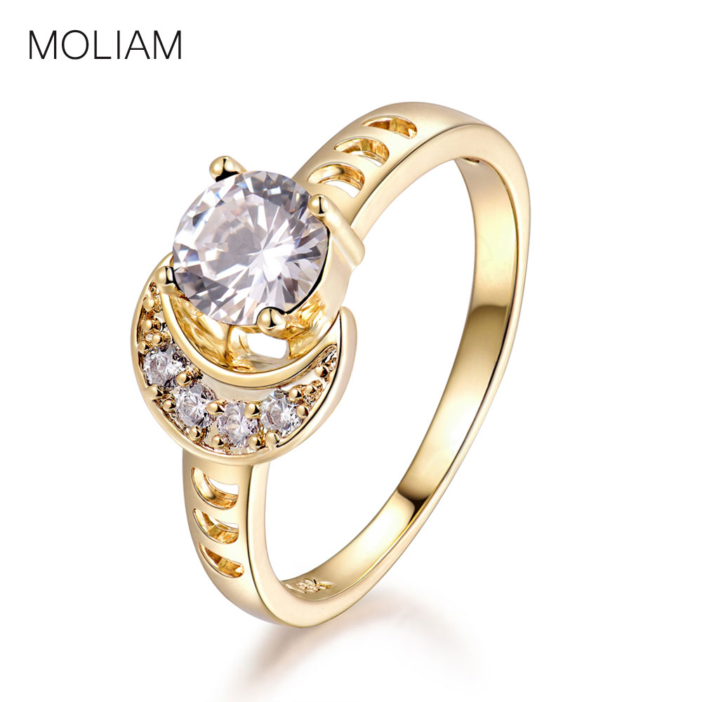 MOLIAM Female Light Blue/White Stone Finger Ring 2017 Trendy Jewelry Cubic Zirconia Moon Design Rings For Women MLR360/MLR361
