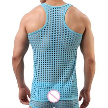 Men's Fishnet Style Transparent Tank Top