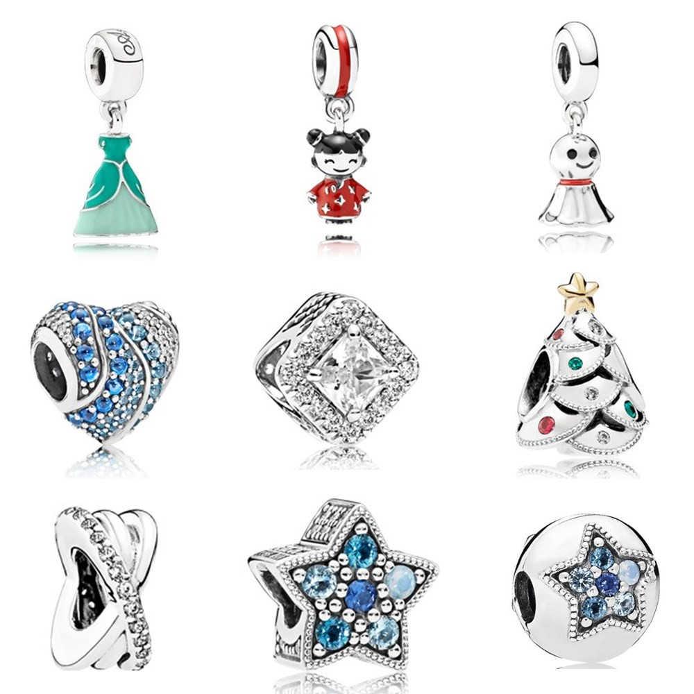 AIFEILI ajuste Pandora Pulsera Rosa collar de cuentas colgante Original encantador chica flor regalo Color moda tendencia azul