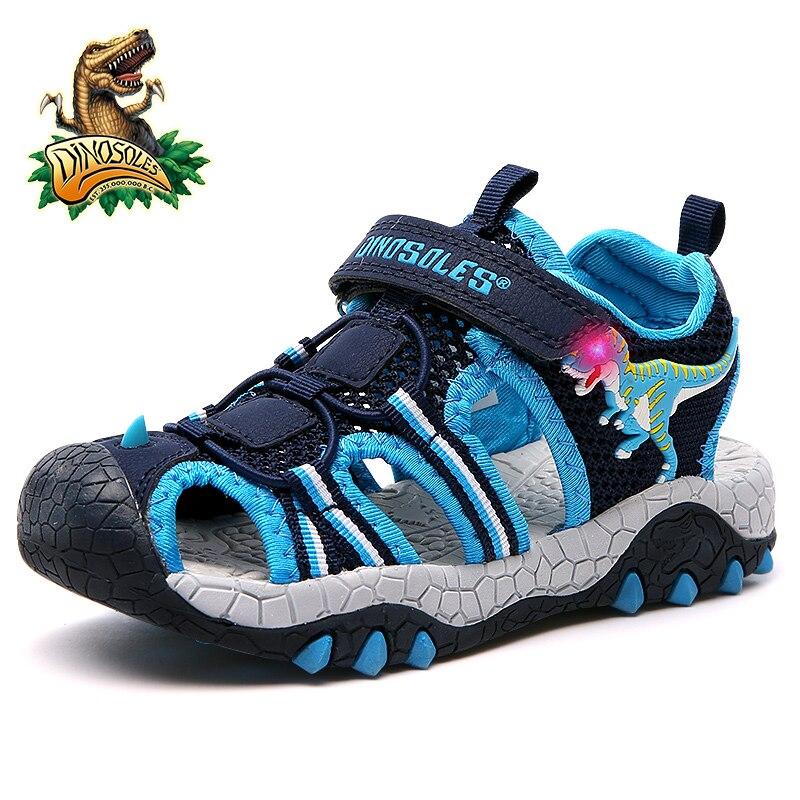 DINOSOLES Baby Boy Sandals Light Up Mesh Kids Shoes 3D Dinosaur Summer Beach Children Sandal 2019 LED Glowing Toddler Shoes