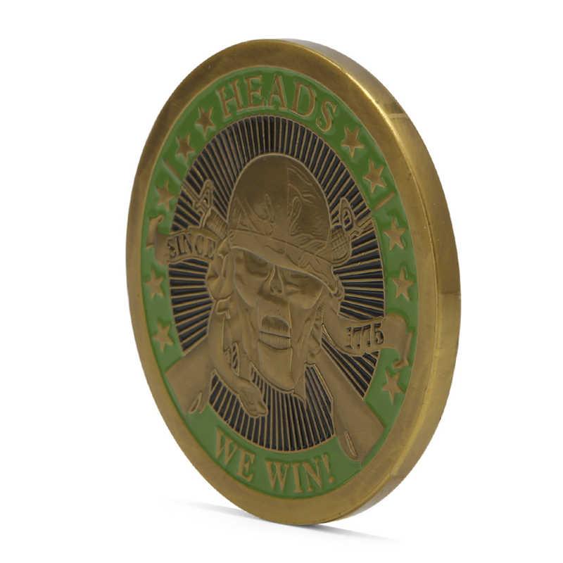 Головок мы победим хвосты вы теряете череп Позолоченные памятные вызов монеты Книги по искусству