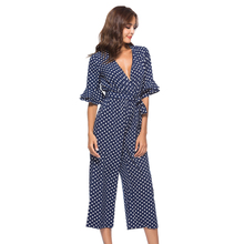 Tiered Flare Sleeve Surplice Wrap Polka Dot Jumpsuit V Neck Half Sexy Women Elegant