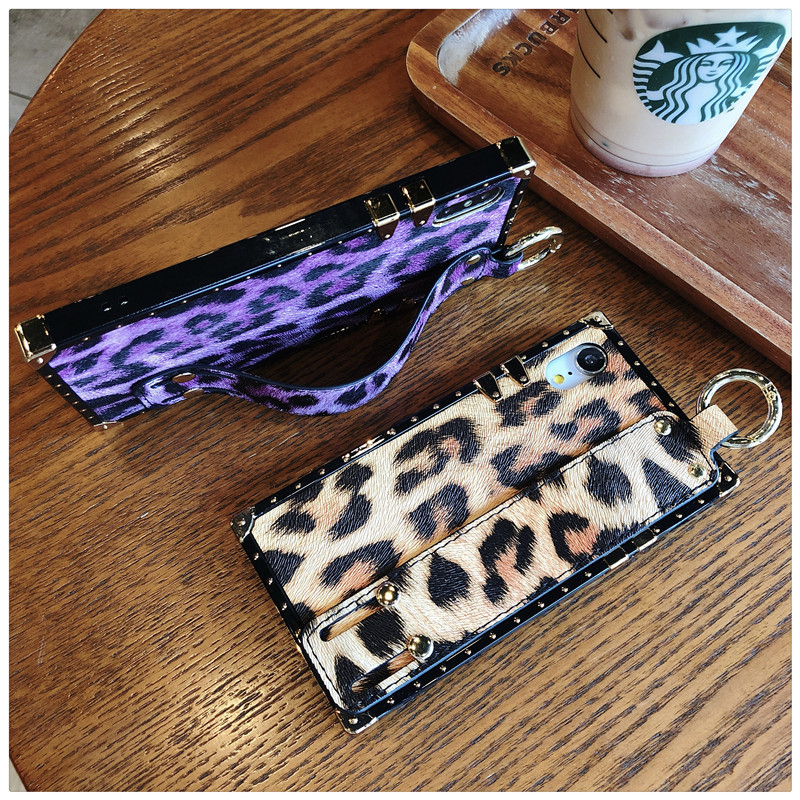 Luxury brand Square Leopard print rose flower case for iphone 7 8 6 6s plus girl women phone case for iphone X XS Max Xr cover (8)