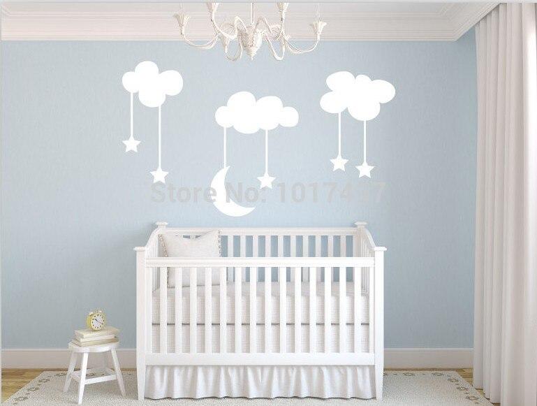 moon with stars baby nursery vinyl wall stickers,sky blue white