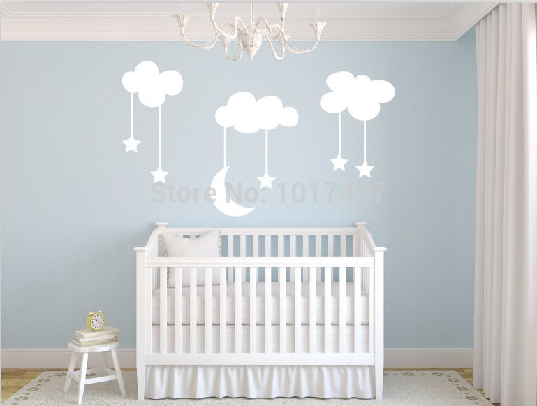 Moon With Stars Baby Nursery Vinyl Wall Stickers Sky Blue White Clouds Kids Room Decoration Free Shipping