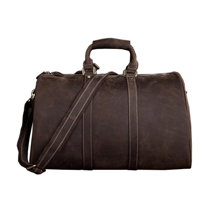 Men Crazy Horse Weekend Bag Genuine Leather Duffle Bag Large Capacity Handmade Cowhide Travel Tote Bag