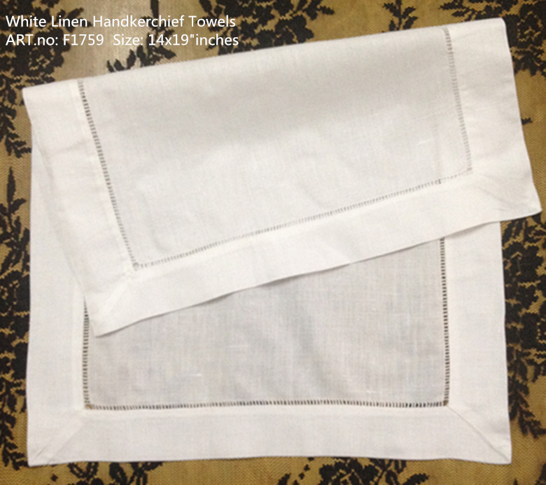 "Set Of 12 Fashion Unisex Handkerchiefs White Linen Hemstitched Placemats Table Cloth For Special Occasions 14""x20""-inch"