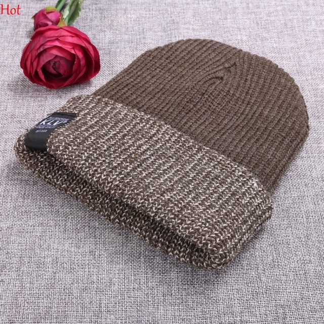edd850dfe US $3.12 13% OFF|New Unisex Winter Hats Women Caps Men Fashion Stretch  Knitted Hat Beanie Head Warmer Chapeau Double Cuffed Hat Colors  SVQ030880-in ...
