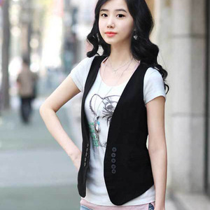 Image 3 - Ms colete slim vestido coreano para mulheres, colete/colete pequeno