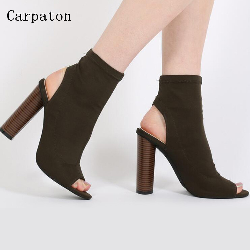 2017 New Fashion Sexy Stretch Fabric Ankle Sandal Boots Women Open Toe Slingbacks Thick High Heels Cut Out Short Boots