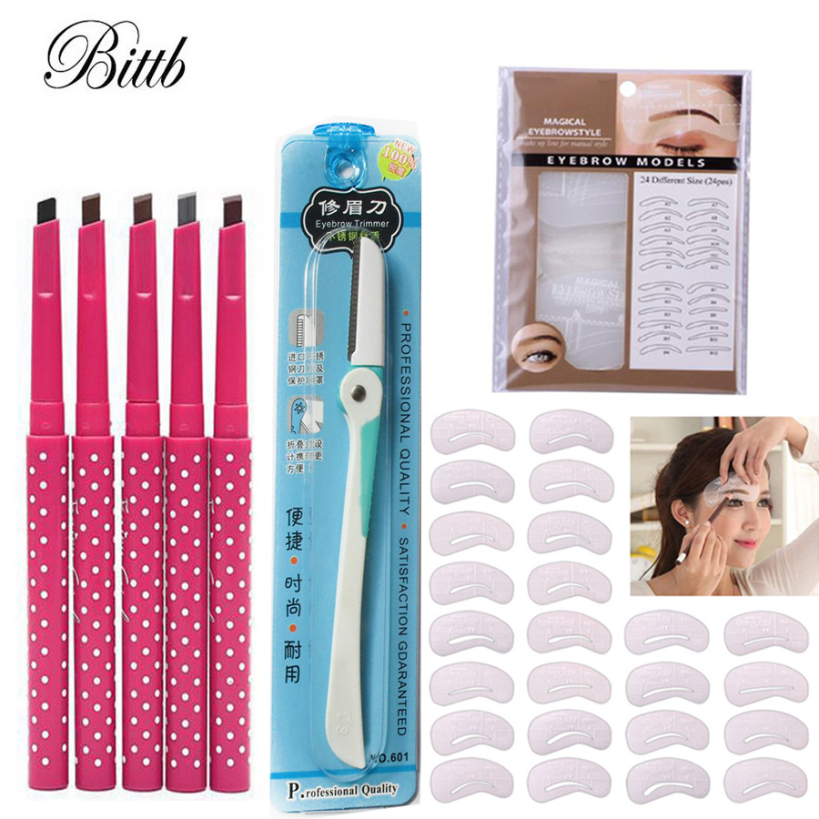 Bittb Eyebrow Beauty Tools Eyebrow Enhancer Pencils 24 Styles Paint Stencil Template Eyebrow Razor Trimmer Cosmetic Makeup Set