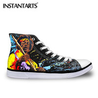INSTANTARTS High Top Canvas Shoes Men's Lace Up Classic Sneakers 3D Print Music Notes Flats Shoes Casual Shoes Male Ankle Shoes