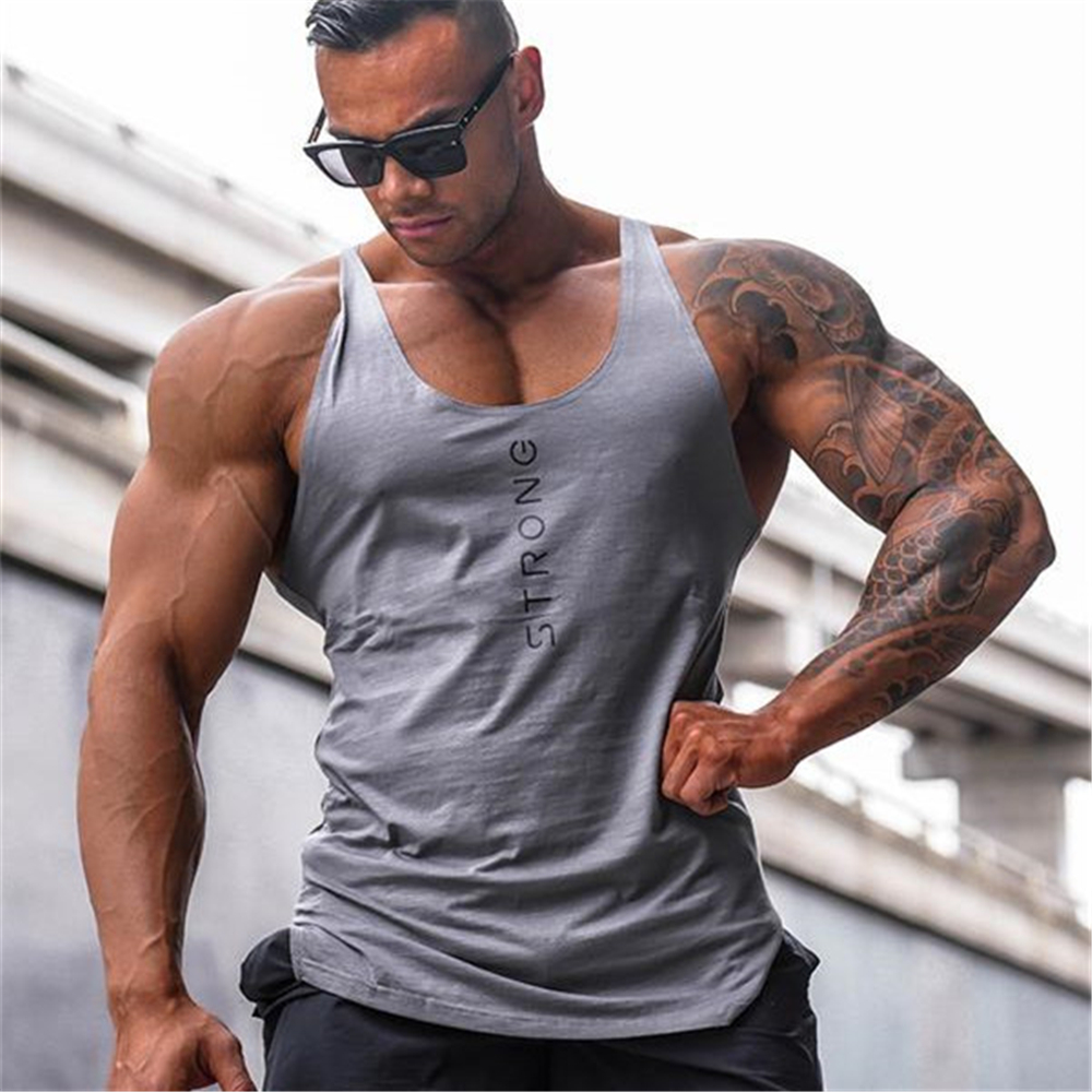 2019 new Gyms   Tank     Tops   Men Elastic Cotton Vest O-Neck Gyms   Tank     Top   Men Sleeveless Shirts Muscle Men Fitness   Tops