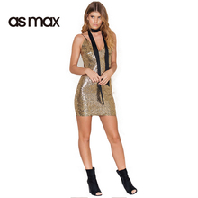 asmax Apparel 2017 Summer Women Dress Casual Solid Color Sexy Bodycon Female Mini Dress Party Sequined Lady Vestidos De Festa