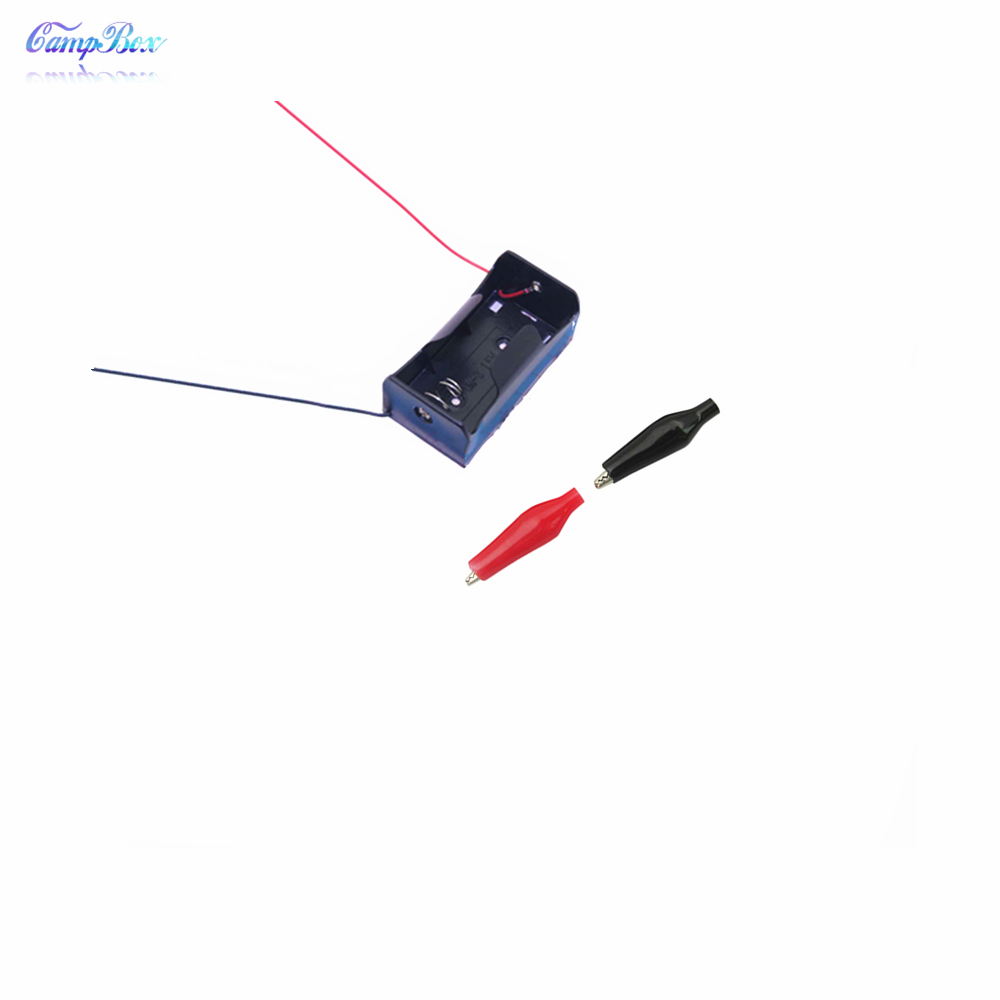 10Pcs 1xD Type Battery Case Holder Socket Wire Junction Box With 15cm Wires Black Red Crocodile