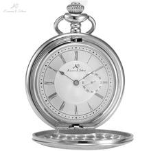 KS WATCH Retro Vintage Silver Skeleton Quartz Pocket Watch