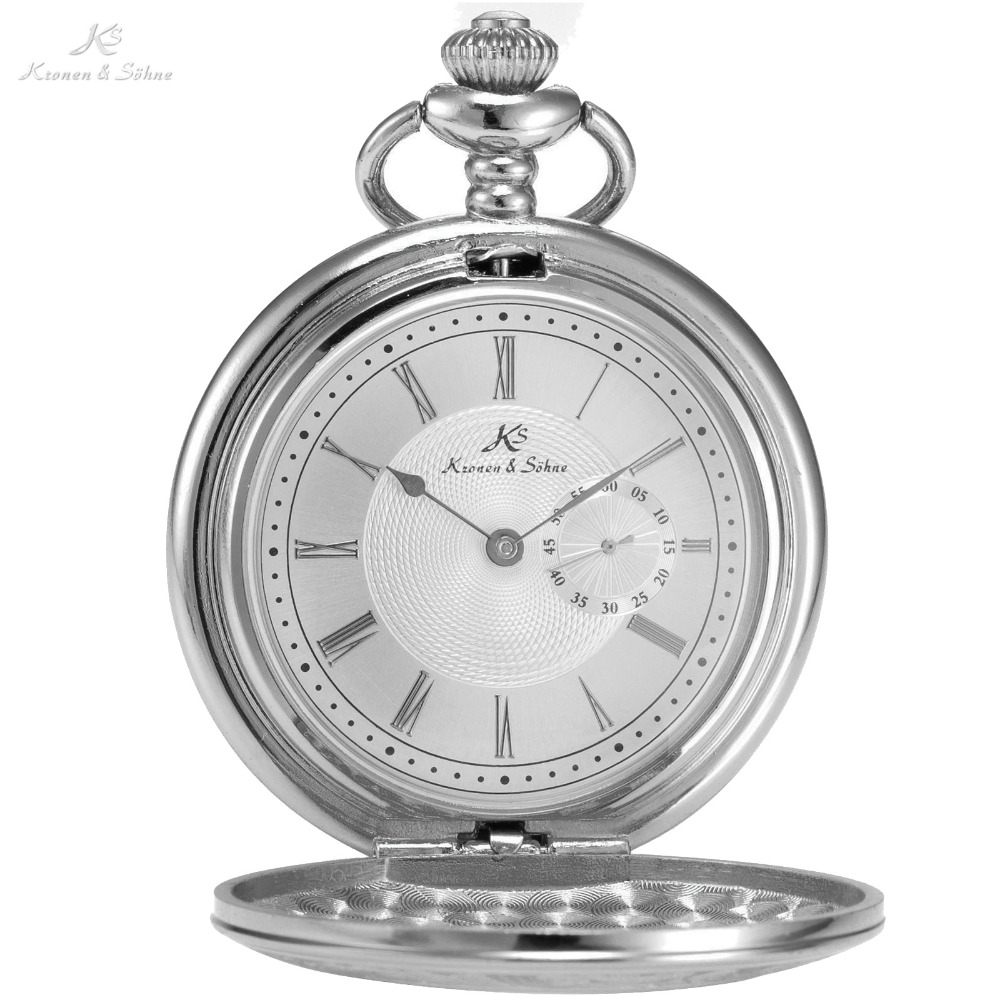 KS Retro Vintage Silver Skeleton Round Hunter White Steampunk Male Women Clock FOB Pendant Quartz Pocket Watch Jewelry /KSP016