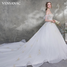 VENSANAC 2018 Crystal Sweetheart Ball Gown Court Train Wedding Dresses Lace Appliques Backless Tulle Bridal Gowns lovely tulle ball gown wedding dress 2019 new sweetheart lace appliques off shoulder court train princess church bridal dresses