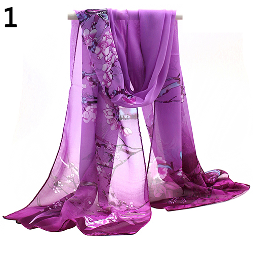 2016 New Fashion Womens Ladies Medium Long Chiffon Stole Scrawl Flower Printed Soft Scarf 6RBR 7F1N 7U3I
