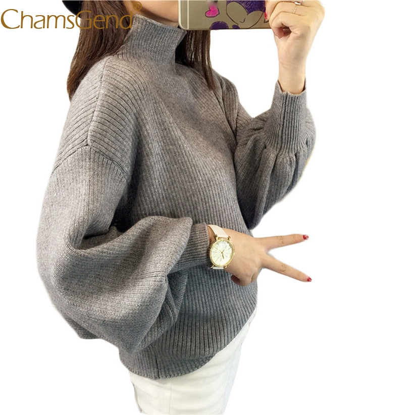 Chamsgend Newly Design Aututmn Turtleneck Lantern Sleeve Loose Sweaters Women Casual Jumpers Pullover Coat Drop Shipping 71010