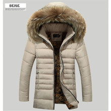 2016 brand winter Men's hooded down parkas jacket men warm fur hat thick cotton padded jacket and coat windproof outwear