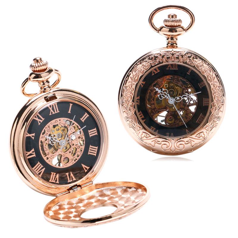 Bronze Golden Glass Men Watch Hind Wind Mechanical Pocket Watch With Necklace Chain Steampunk Relogio