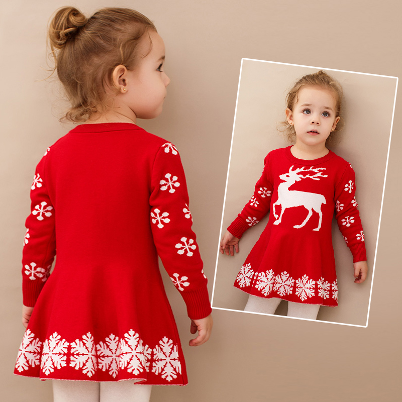 2018 New Elk winter Girl Dress Christmas Sweater Dress Autumn Baby Girls Long Sleeve Winter Snowflake Pattern Children kid Dress недорго, оригинальная цена
