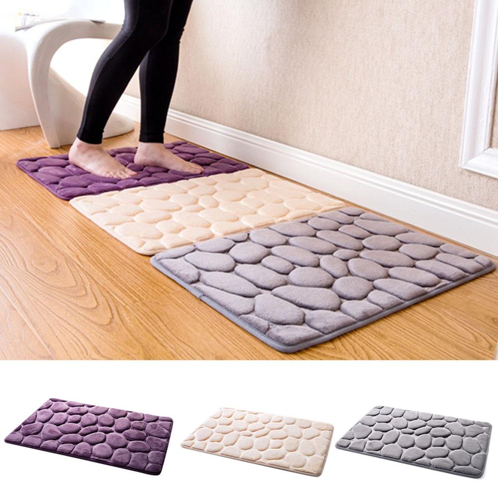 NC Cobble Stone Style PVC Bathroom Memory Foam Rug Kit Toilet Pattern Bath Non Slip Mats Floor