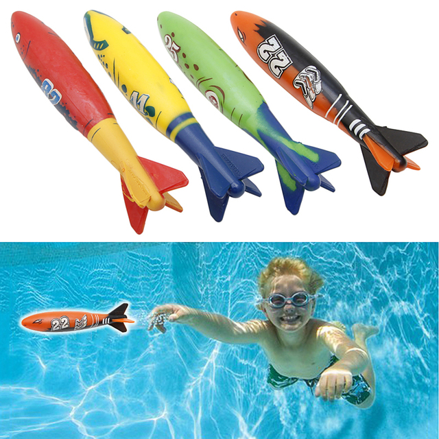 4 Pieces Rubber Swimming Pool Toys Diving Sport Outdoor Toypedo Bandits Play Water Fun Pool Fun