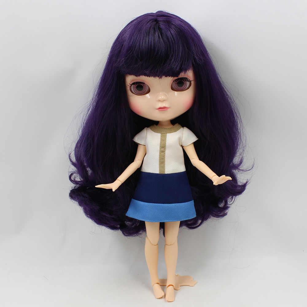 DBS ICY BONECA pequena mama corpo azone fortuna dias 230BL169 deep purple cabelo com franja 30cm conjunto com a mão