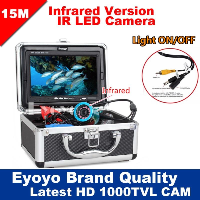 Eyoyo Оригинал 15 м Professional рыболокаторы подводный рыбалка видео камера 7 Цвет HD мониторы 1000TVL HD CAM огни ВКЛ/ВЫКЛ