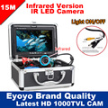 Eyoyo Original 15 M profesional buscador de peces pesca submarina cámara de vídeo 7 Color HD Monitor 1000TVL HD CAM luces ON/OFF