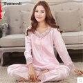 2016 Pijamas Para Las Mujeres ropa de Noche de Primavera Pijama De Raso de Café Conjuntos salón Pijama de Las Señoras de Seda Pijamas de Las Mujeres Más El Tamaño 3XL