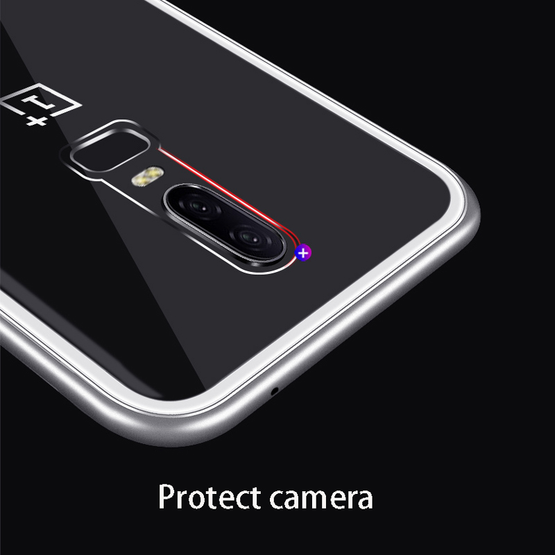 Image 3 - Magnetic Adsorption Phone Case For OnePlus 7 Pro One Plus 6T Tempered Glass Back Cover For Oneplus 6 5T Luxury Metal Clear Case-in Flip Cases from Cellphones & Telecommunications