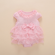 Baby Girl Bodysuits my First Birthday Baby Body Newborn Girls Birthday 0 3 6 Months Sleeveless Summer Lace Tulle Ruffle Clothes(China)