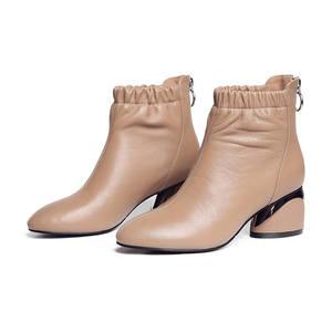 Image 3 - MORAZORA 2020 הגעה לניו מגפי עור עגול הבוהן קרסול מגפי נשים רוכסן אופנה סתיו עקבים גבוהים שמלת נעליים