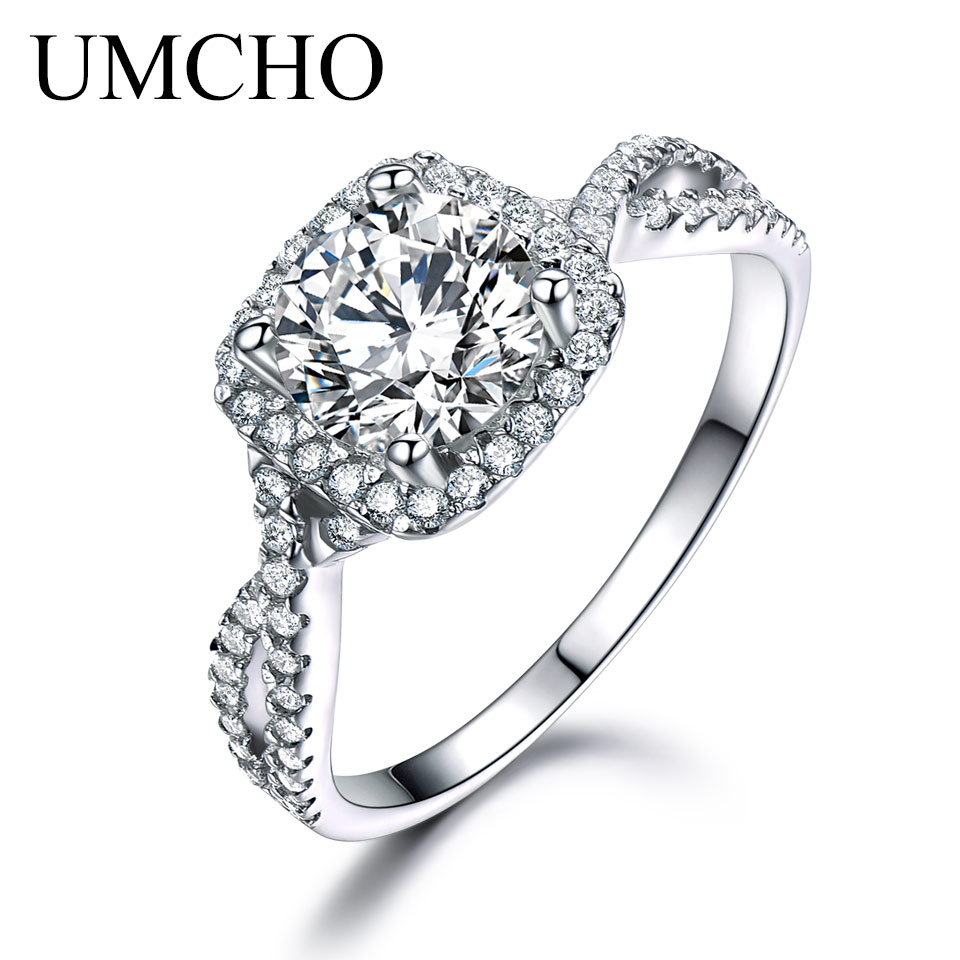 UMCHO Luxury Bridal Cubic Zircon Rings For Women Real Silver 925 Jewelry Solitaire Engagement Wedding Party Brand Fine Jewelry