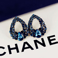 Fashion Gold Teardrop Crystal Stud Earrings Luxury Design For Women Blue Cubic Zirconia Rhinestone Jewelry Accessory Pendientes