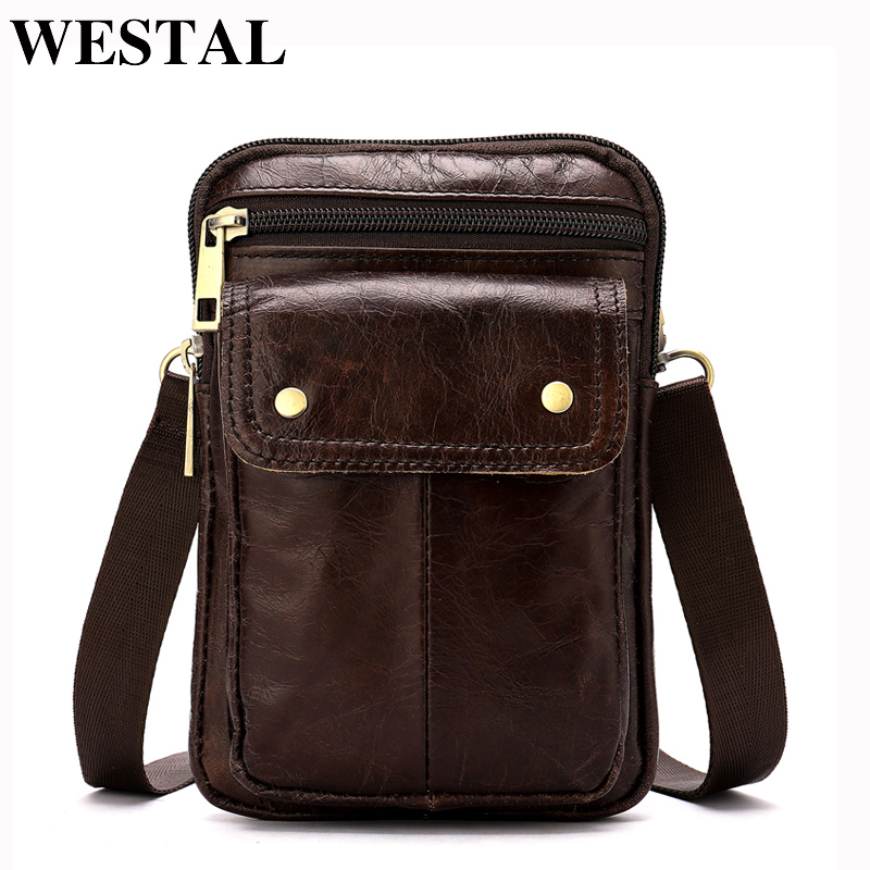 WESTAL Genuine Leather Waist Packs Male Fanny Pack Belt Bag Travel Phone Pouch Bags Small Waist Bag Leather Pouch Men's Bags аквабокс aquapac small stormproof pouch grey 046