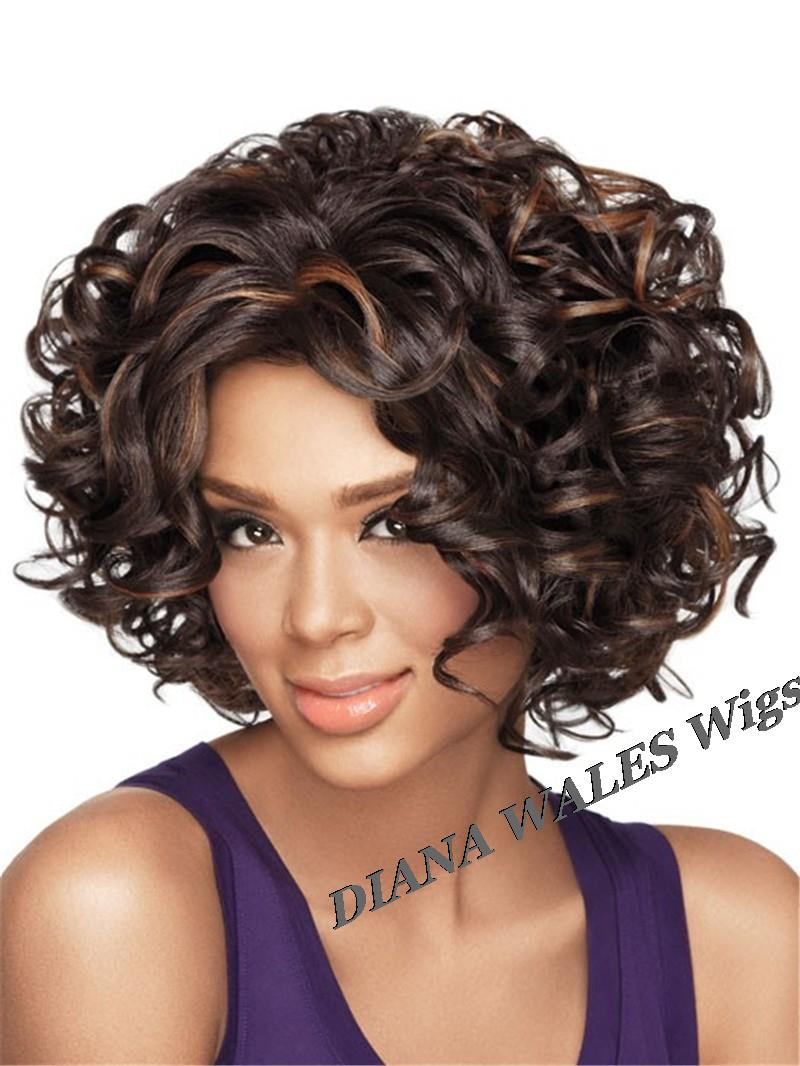 Cheap Afro Kinky Curly Wig Synthetic Short Wigs For African American Black Women Ombre Kanekalon
