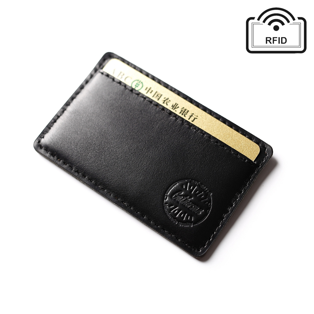 new design leather rfid blocking credit card holder slim business men genuine leather personalized card holder rfid protection in card id holders from - Personalized Card Holder