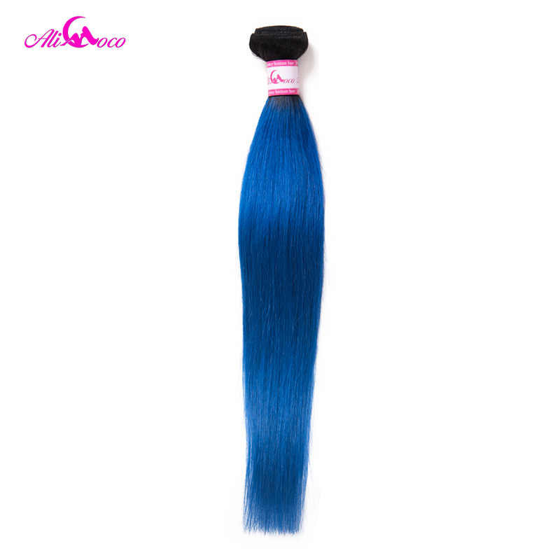 Ali Coco Brazilian Straight Hair 1/3/4 Bundles 1B/Blue Color 100% Human Hair Weave Extensions 10-30 Inch Remy Hair Weave Bundles