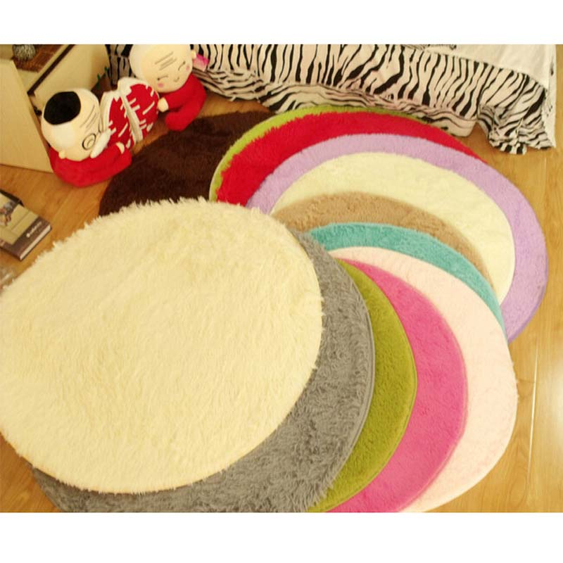 25mm&45mm Plush Thicken Soft Shaggy Area Round Rug Living Room Carpet Bedroom Floor Mat Slip Resistance Circle Footcloth Carpet