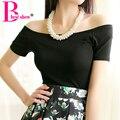 Novo 2017 Summer Fashion Sexy Fora Os Topos de Ombro Para As Mulheres Casual Algodão de Manga Curta T-shirt Preto Branco Cinza Azul Vermelho Cor