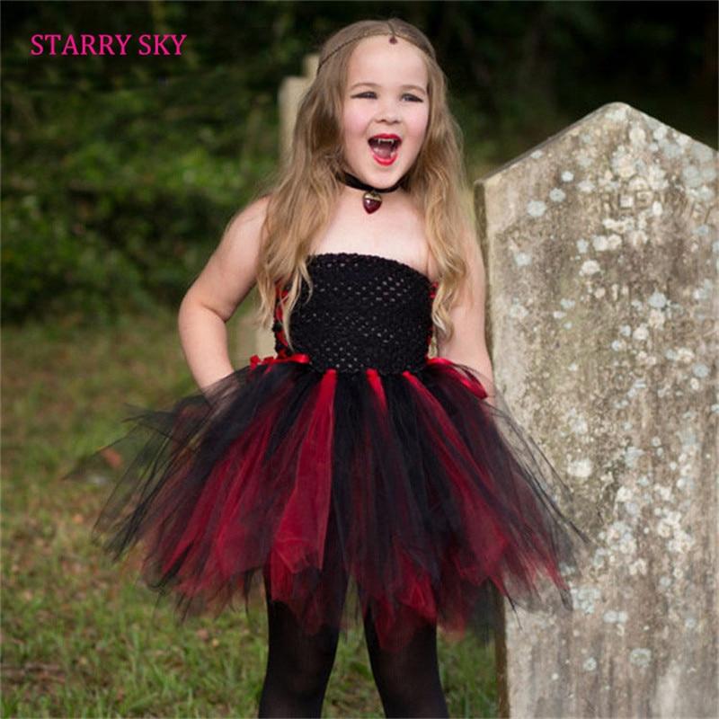 Children Girl Vampire Design Tutu Dresse Children Halloween Cosplay Tutu Dress Summer Sleeveless Kids Party Clothing Photography