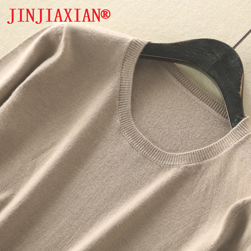 2019 Spring And Autumn  New Female Sweater Pure Wool Coat Wool Sweater Round Neck Cashmere Sweater Short-Sleeved Sweater