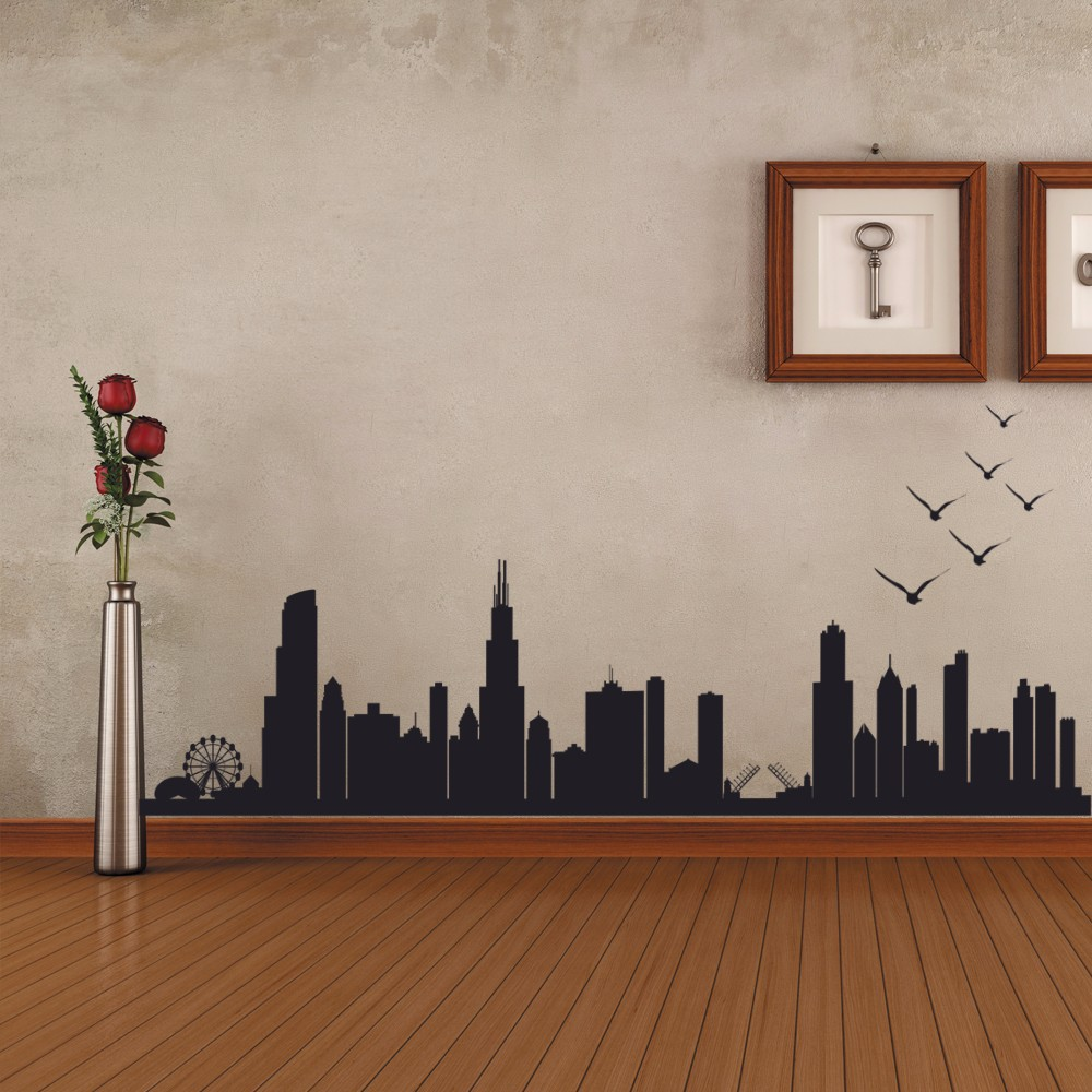 Chicago Skyline Silhouette Wall Decal Custom Vinyl Art Stickers 40.64cm x114.3cm-in Wall Stickers from Home u0026 Garden on Aliexpress.com | Alibaba Group & Chicago Skyline Silhouette Wall Decal Custom Vinyl Art Stickers ...