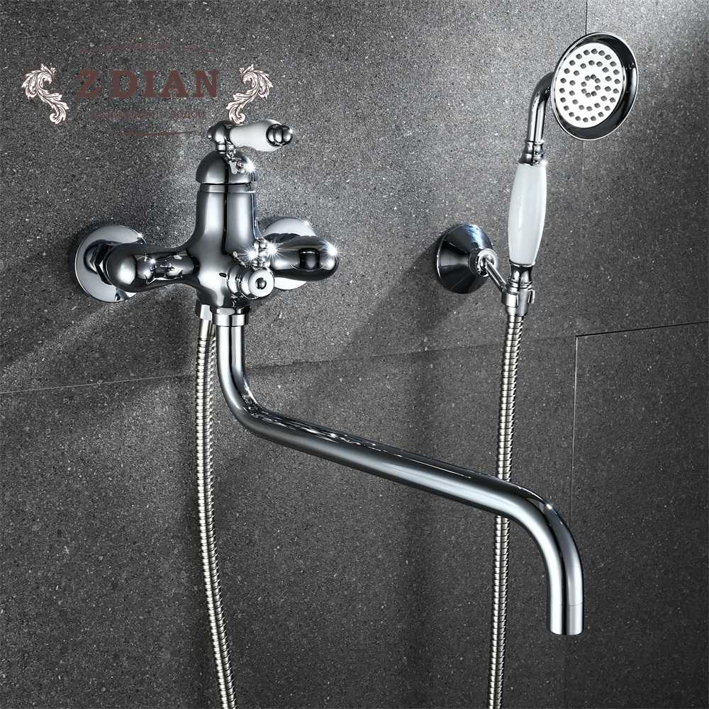 Quality Wall-mount Bathroom Shower Faucets with Long Spout Set Bathtub Faucet Single Handle Hot and cold water tap